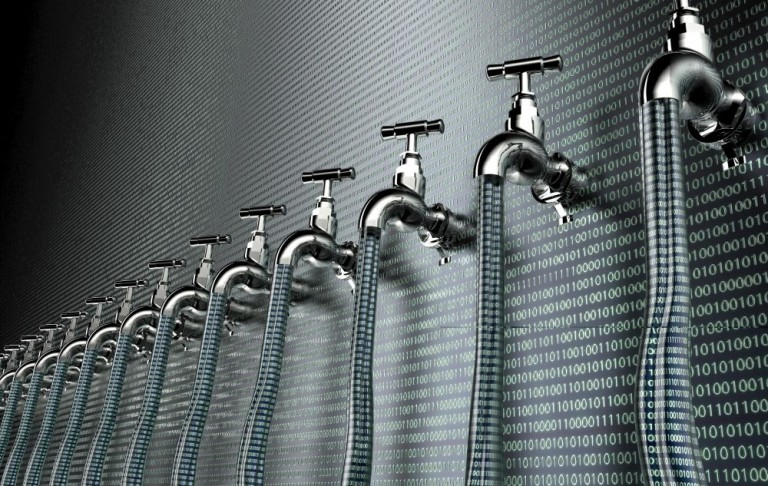 concept of leaky software, data with a tap sticking out.3d illustration